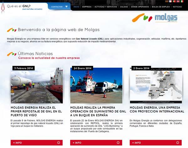 Módulo de noticias en página Web de Molgas